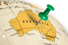 Location Australia. Green Pin ...