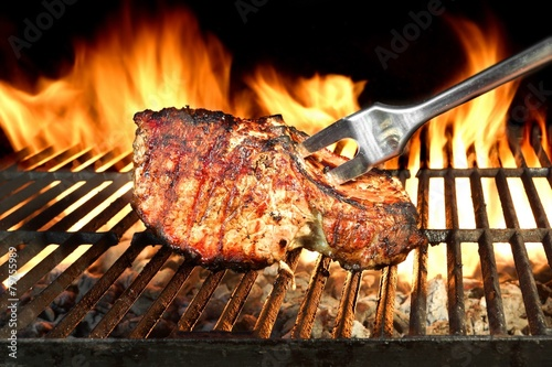Meat Chop Cooked On The Barbecue Grill - 79755989