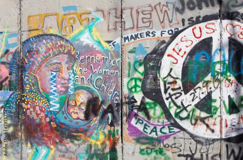 Valokuva  Bethlehem - The Detail of graffitti on the Separation barrier