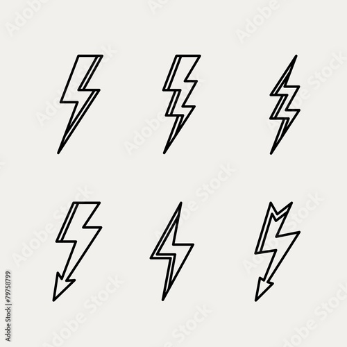 Valokuva  Lightning icon minimal linear contour outline style vector