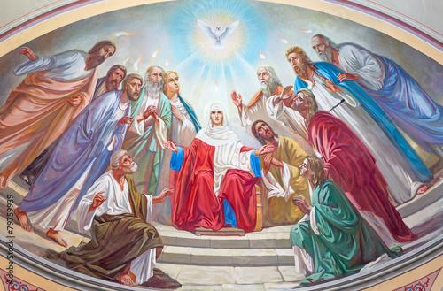 Obraz Jerozolima - fresk Zesłania Ducha Świętego w rosyjskiej katedrze - fototapety do salonu