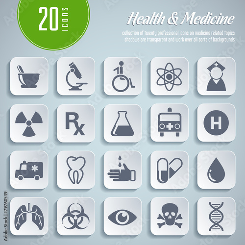 Set Of 20 Medical Icons Transparent Shadows Buy This Stock