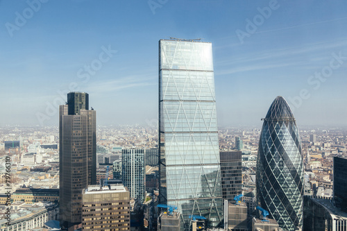 Modern skyscrapers in London city, aerial view Canvas Print