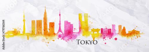 Photo  Silhouette watercolor Tokyo