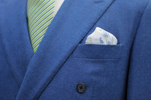 Blue Suit With Tie And Handker...