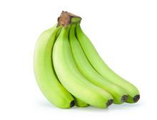 Green Bananas On A White Backg...