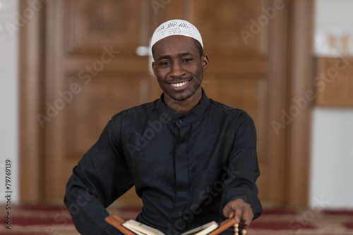 Vászonkép Portrait Of Young Muslim Man Smiling