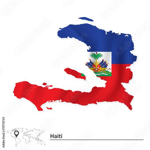 Cuadros en Lienzo Map of Haiti with flag