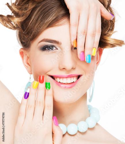 Staande foto Manicure Woman applying makeup