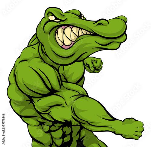 Fototapeta premium Walka maskotka aligatora lub krokodyla