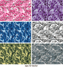 Set Of Camouflage Pattern Vector