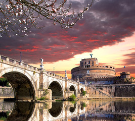 Fototapeta Angel Castle with bridge on Tiber river in Rome, Italy