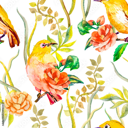 Fotobehang Papegaai Watercolor pattern. Tropical birds and flowers. White-eye bird