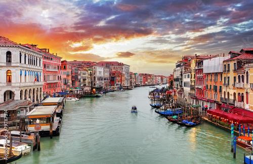 Poster Venise Venice - Rialto bridge and Grand Canal