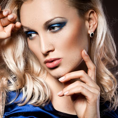 Fototapety, obrazy: elegant fashionable woman in blue dress