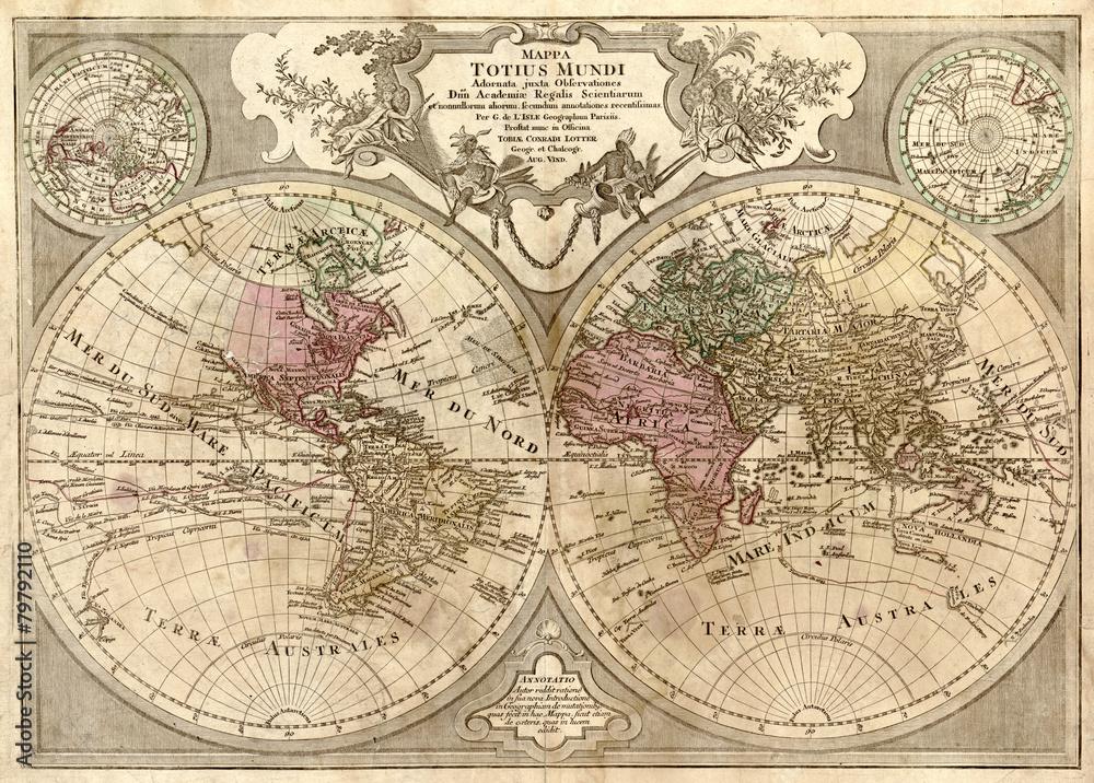 Fototapety, obrazy: Stara mapa świata, fototapeta
