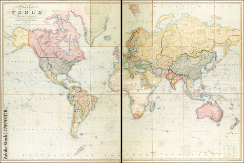 Recess Fitting World Map Vintage World map