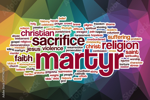 Martyr word cloud with abstract background Canvas Print