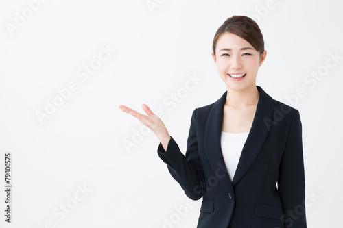 asian businesswoman showing isolated on white background