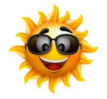 Summer Sun Face With Sunglasse...