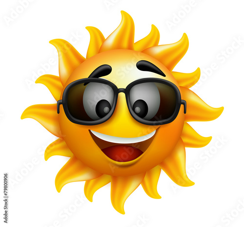 Summer Sun Face with sunglasses and Happy Smile