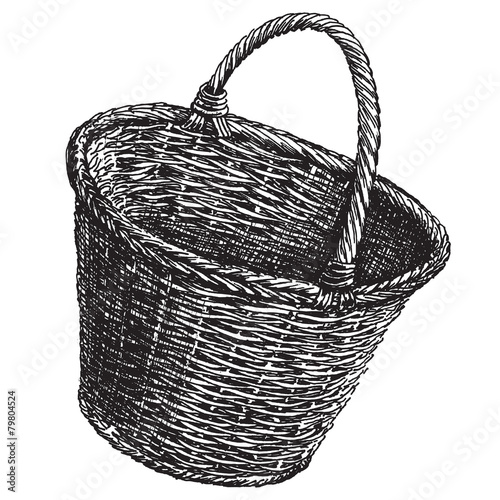 Fotografie, Obraz  wicker basket on a white background. sketch