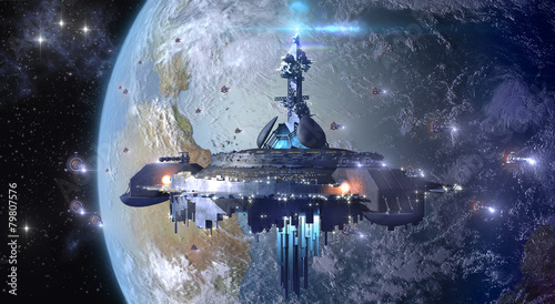 Canvas-taulu Alien UFO mothership near Earth