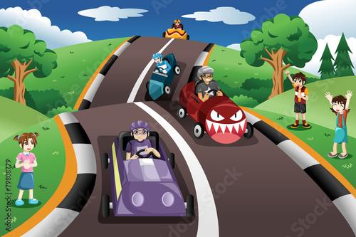 Staande foto Cartoon cars Kids in a box car race