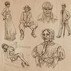 Fototapeta na wymiar fashion between the years 1870-1970, vectors
