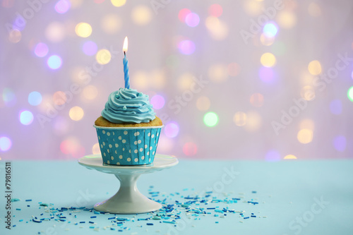 Fotografia, Obraz  Delicious cupcake on table on light background