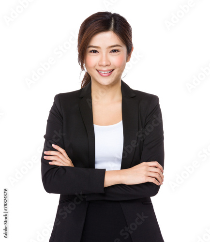 Photo  Young asian businesswoman on white background
