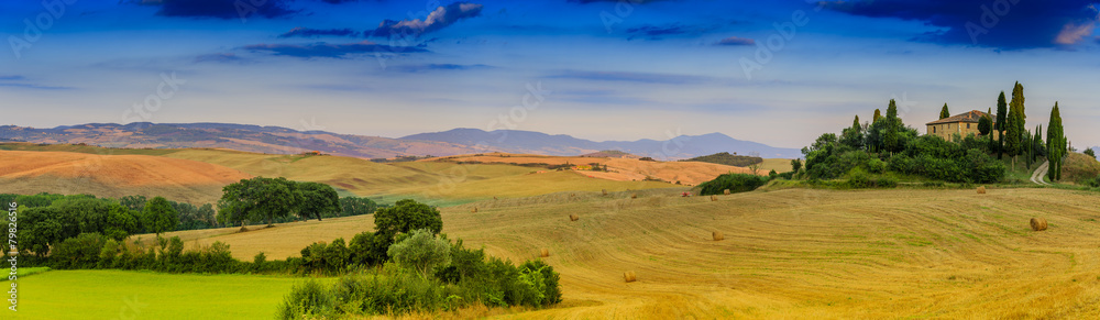 Tuscany landscape - panorama, San Quirico d´Orcia, Italy