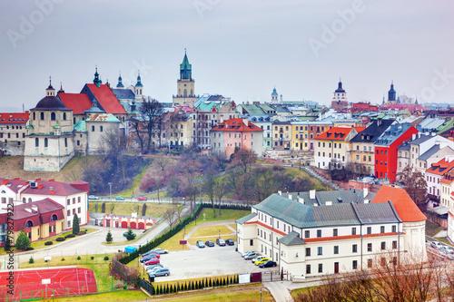 Obraz Panorama starego miasta w Lublinie, Polska - fototapety do salonu