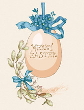 Easter Greeting Card With Egg, Flowers On Beige Background