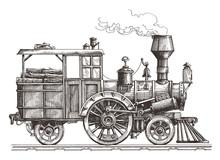 Retro Train On A White Backgro...