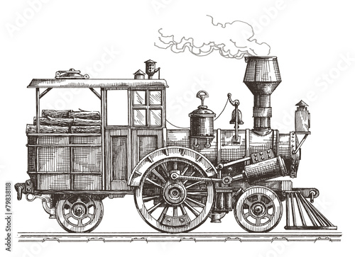 Fotografía retro train on a white background. sketch