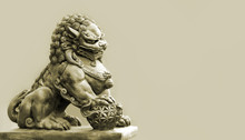 Buddhist Sculpture. Singha Stone Statue.