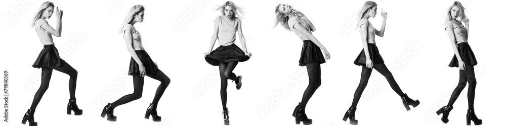 Fototapeta Fashion girl model posing on white background