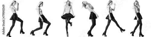Obraz Fashion girl model posing on white background - fototapety do salonu