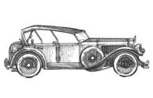 Vintage Car On A White Background. Sketch, Illustration