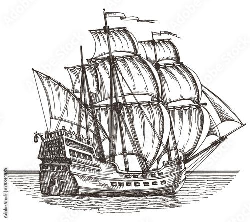In de dag Schip ship on a white background. sketch. illustration