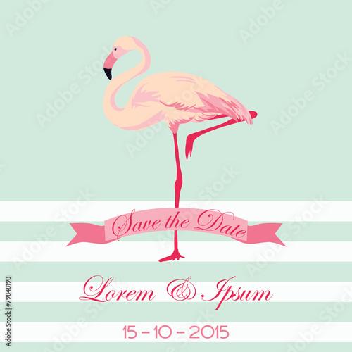 Canvas Prints Flamingo Bird Save the Date - Wedding Card with Flamingo Birds - in vector