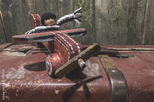 Keuken foto achterwand Retro Vintage children's toy wooden airplane.