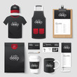 Vector restaurant cafe set flyer, menu, package, t-shirt, cap
