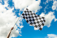 Checkered Flag Waving In The W...