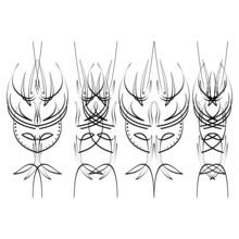 Pinstripe Design, Four Black E...