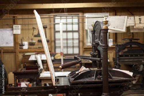 Fotografie, Tablou Close-up of antique letterpress printing machine