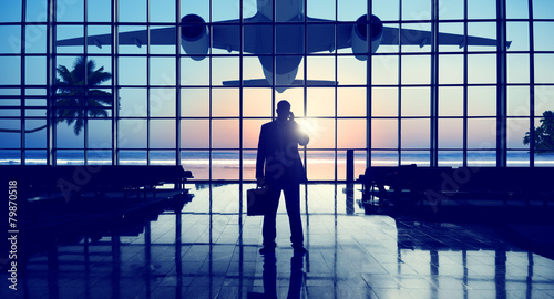 Businessman Airport Travel Waiting Trip Terminal Concept