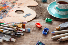 Paintbrushes, Artist Palette, Pencils, Coffee Cup, Watercolor An