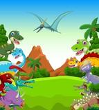 Fototapeta Dinusie - Dinosaur cartoon with landscape background